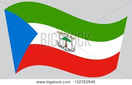 Equatorial Guinean national official flag. African patriotic symbol banner element background. Correct colors. Flag of Equatorial Guinea waving on gray background vector