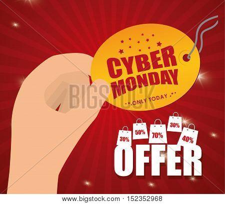 cyber monday sale event vector illustration design