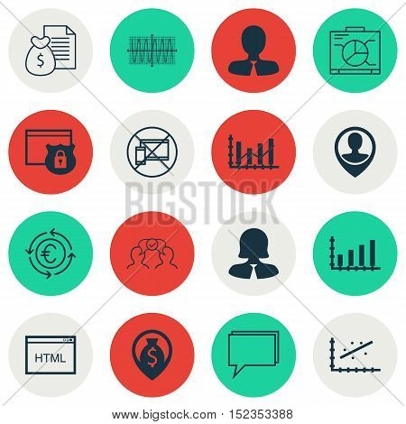 Set Of 16 Universal Editable Icons For Advertising, Project Management And Business Management Topic