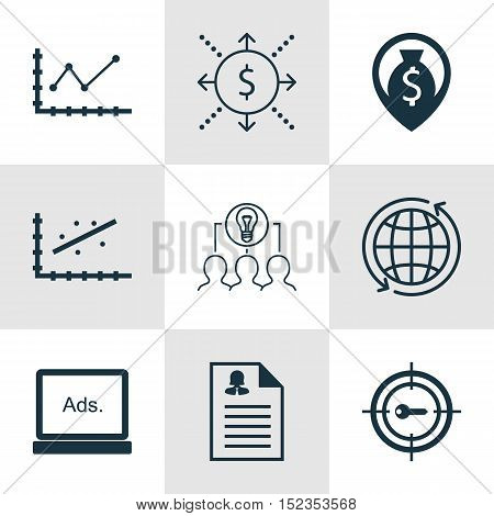 Set Of 9 Universal Editable Icons For Airport, Advertising And Human Resources Topics. Includes Icon