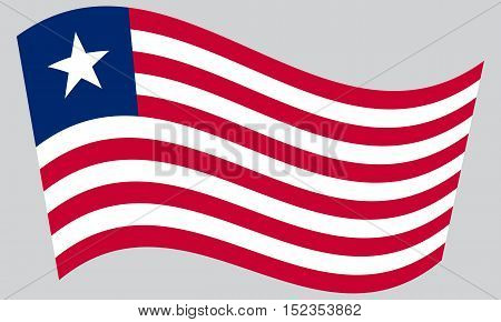 Liberian national official flag. African patriotic symbol banner element background. Correct colors. Flag of Liberia waving on gray background vector