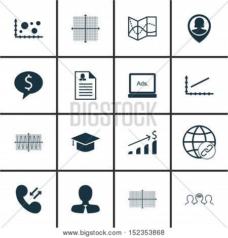 Set Of 16 Universal Editable Icons For Statistics, Business Management And Human Resources Topics. I