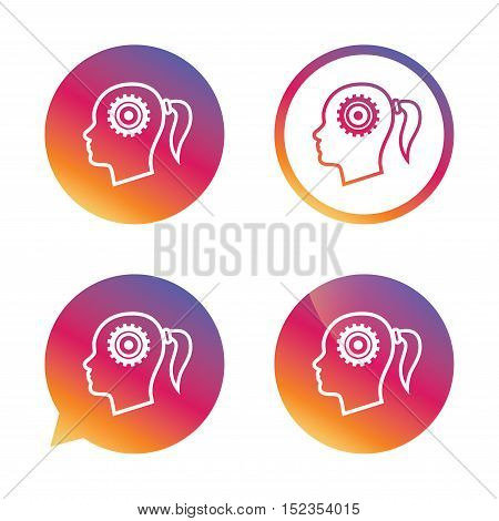 Head with gear sign icon. Female woman human head think symbol. Gradient buttons with flat icon. Speech bubble sign. Vector