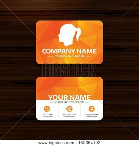 Business or visiting card template. Head sign icon. Female woman human head with pigtail symbol. Phone, globe and pointer icons. Vector