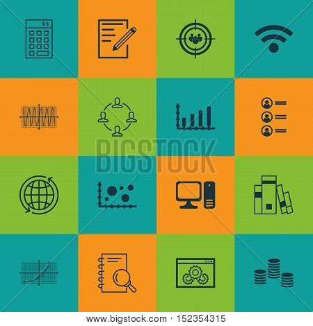 Set Of 16 Universal Editable Icons For Computer Hardware, Statistics And Human Resources Topics. Inc
