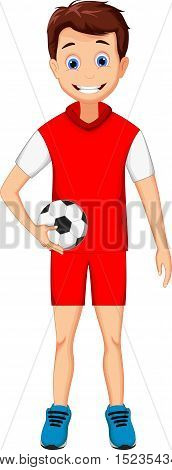 funny boy cartoon with football for you design