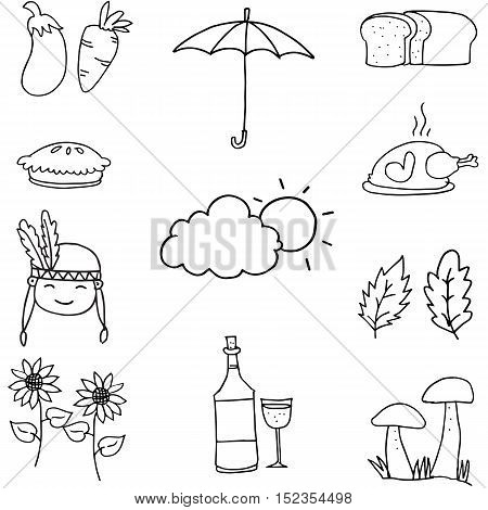 Doodle of thanksgiving object hand draw vector art