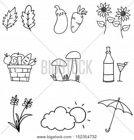 Doodle of thanksgiving element vector art illustration