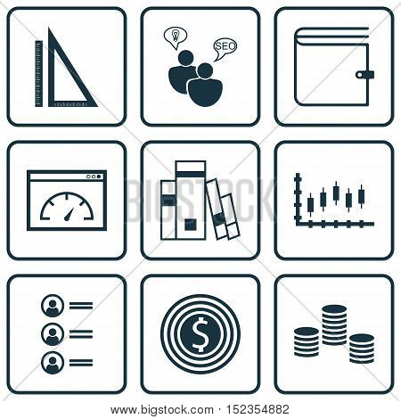 Set Of 9 Universal Editable Icons For Human Resources, Statistics And Advertising Topics. Includes I
