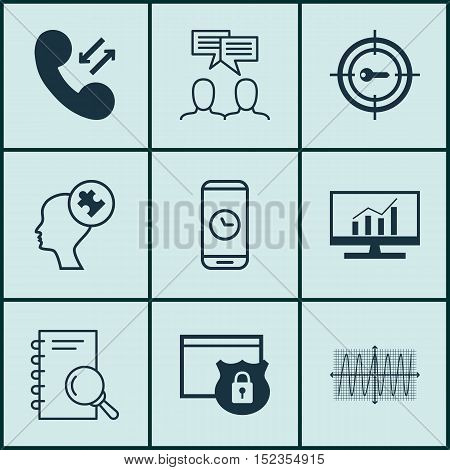 Set Of 9 Universal Editable Icons For Business Management, Marketing And Project Management Topics.
