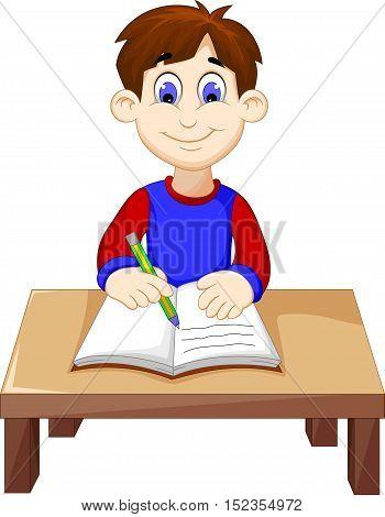funny Boy cartoon writing above a desk