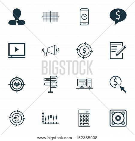 Set Of 16 Universal Editable Icons For Education, Marketing And Travel Topics. Includes Icons Such A