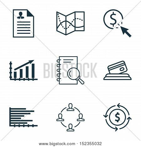 Set Of 9 Universal Editable Icons For Statistics, Seo And Travel Topics. Includes Icons Such As Road