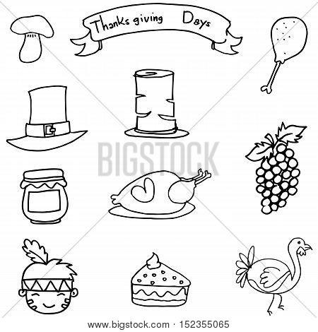 Thanksgiving set element on doodles vetcor art