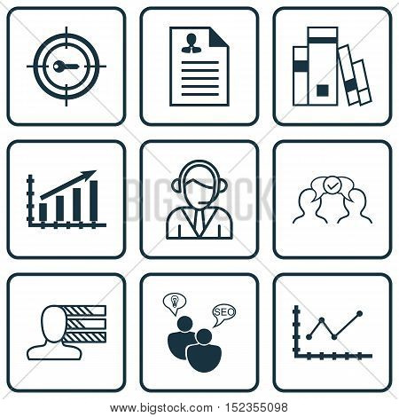 Set Of 9 Universal Editable Icons For Marketing, Statistics And Business Management Topics. Includes
