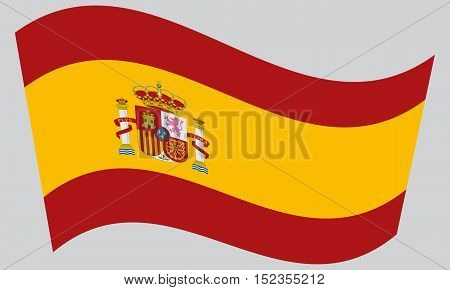 Spanish national official flag. Patriotic symbol banner element background. Correct colors. Flag of Spain waving on gray background vector