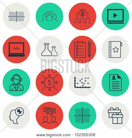 Set Of 16 Universal Editable Icons For Human Resources, Statistics And Business Management Topics. I