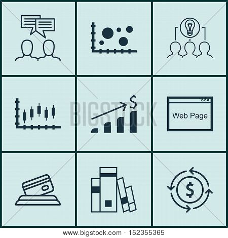 Set Of 9 Universal Editable Icons For Advertising, Business Management And Airport Topics. Includes