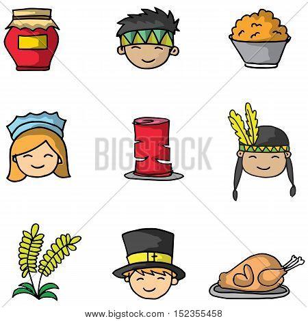 Doodle of thanksgiving cartoon element vector art