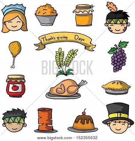 Cartoon thanksgiving set on doodles vector art