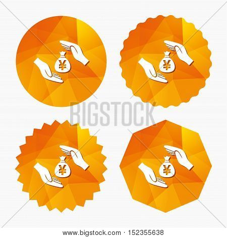 Protection money bag sign icon. Hands protect cash in Yen symbol. Money or savings insurance. Triangular low poly buttons with flat icon. Vector