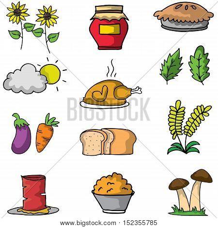 Object thanksgiving set on doodles vector art