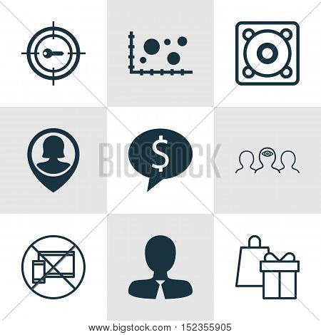 Set Of 9 Universal Editable Icons For Business Management, Statistics And Airport Topics. Includes I