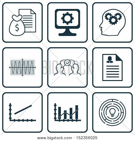 Set Of 9 Universal Editable Icons For Statistics, Advertising And Computer Hardware Topics. Includes