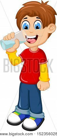 cute boy cartoon drinking water for you design