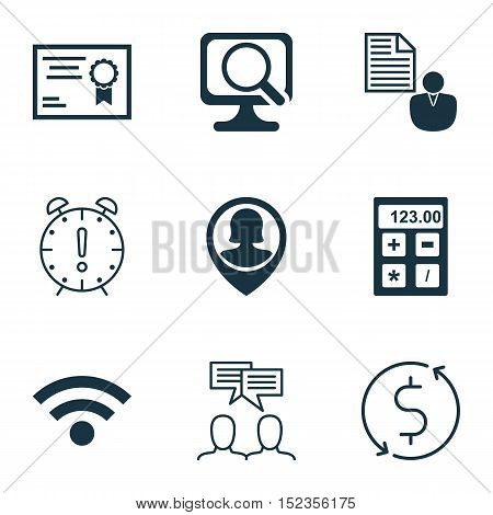 Set Of 9 Universal Editable Icons For Human Resources, Project Management And Computer Hardware Topi