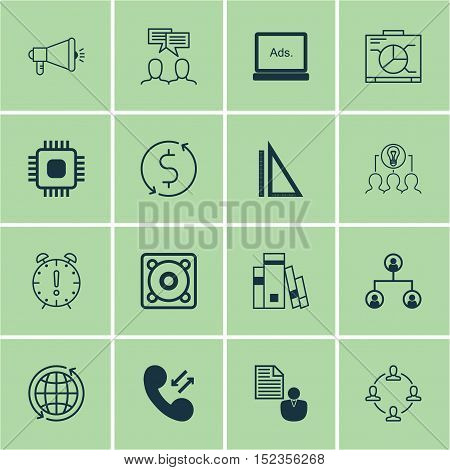Set Of 16 Universal Editable Icons For Computer Hardware, Human Resources And Marketing Topics. Incl