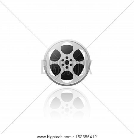 Realistic movie film reel isolated on white background vector illustration