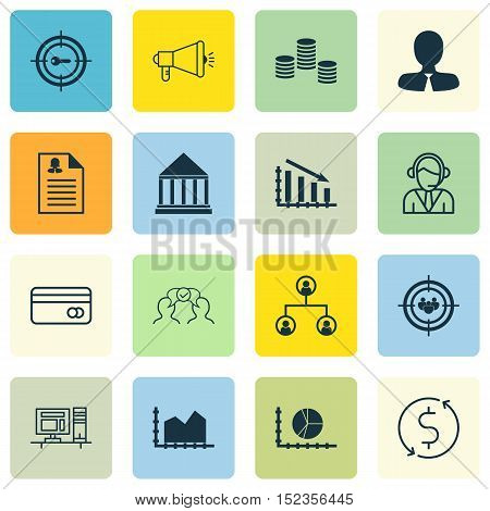 Set Of 16 Universal Editable Icons For Education, Marketing And Seo Topics. Includes Icons Such As C