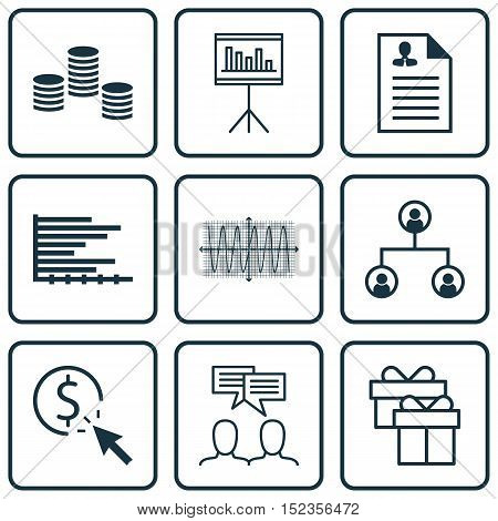 Set Of 9 Universal Editable Icons For Marketing, Statistics And Project Management Topics. Includes