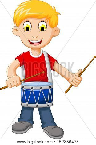 funny Boy cartoon playing drum for you design