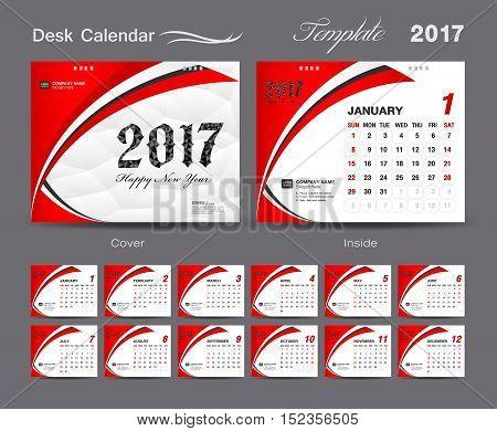 set Red Desk Calendar 2017 template design, cover Desk Calendar, Business flyer template
