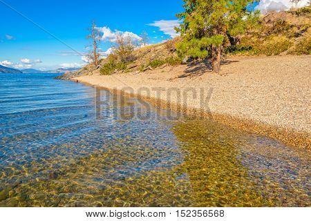 Majestic mountain lake in Canada. Okanagan Lake in Kelowna, Canada.