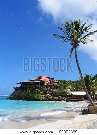 ST BARTS,FRENCH WEST INDIES - JANUARY 15, 2015: The beautiful Eden Rock hotel  at St Barts, French West Indies.Eden Rock St Barts is one of the Top 100 hotels in the world