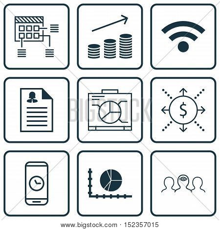 Set Of 9 Universal Editable Icons For Project Management, Human Resources And Business Management To