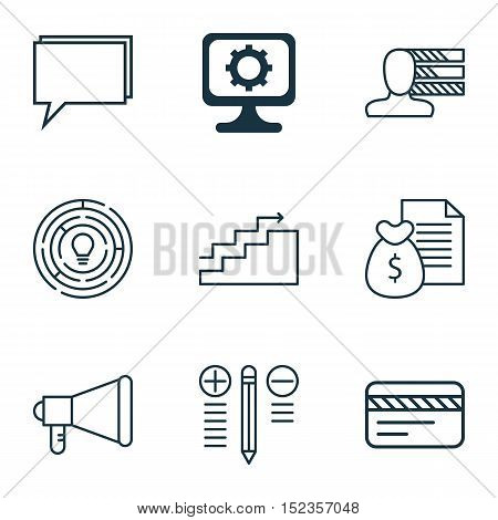 Set Of 9 Universal Editable Icons For Project Management, Advertising And Computer Hardware Topics.