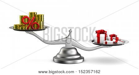 Gift box and cash on scale. Isolated 3D image