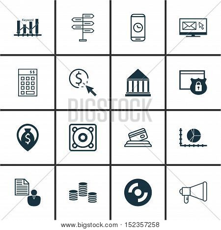 Set Of 16 Universal Editable Icons For Project Management, Seo And Marketing Topics. Includes Icons