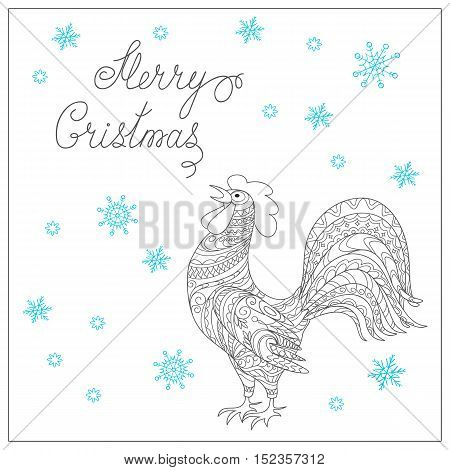 Festive Christmas card with hand drawn calligraphical text Merry Christmas decorated rooster symbol of 2017 isolated on the white. Image can be used for adult coloring book. eps 10