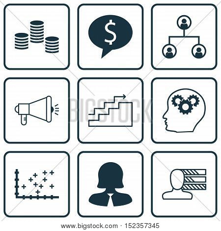 Set Of 9 Universal Editable Icons For Seo, Statistics And Human Resources Topics. Includes Icons Suc