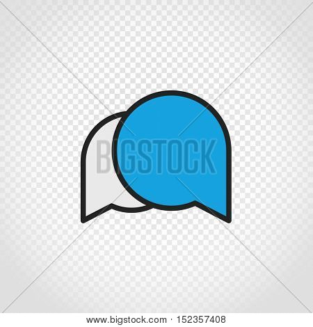 Speech clouds vector icon on transparent background