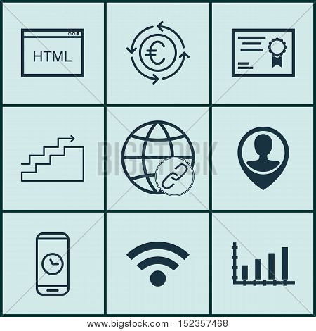 Set Of 9 Universal Editable Icons For Project Management, Travel And Marketing Topics. Includes Icon