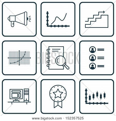 Set Of 9 Universal Editable Icons For Statistics, Project Management And Human Resources Topics. Inc