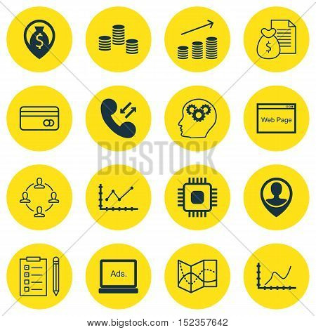 Set Of 16 Universal Editable Icons For Airport, Advertising And Seo Topics. Includes Icons Such As C