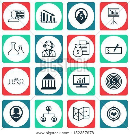 Set Of 16 Universal Editable Icons For Project Management, Education And Marketing Topics. Includes