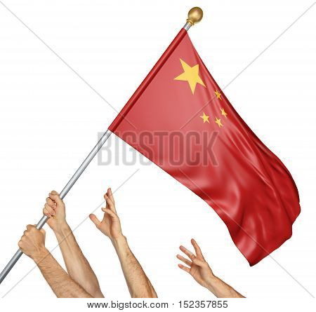 Team of peoples hands raising the China national flag, 3D rendering isolated on white background